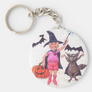 Pig and Raccoon Halloween Keychain