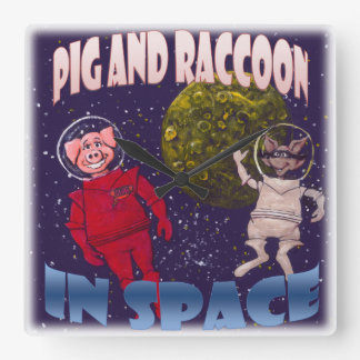 Pig and Raccoon in Space Square Wallclock