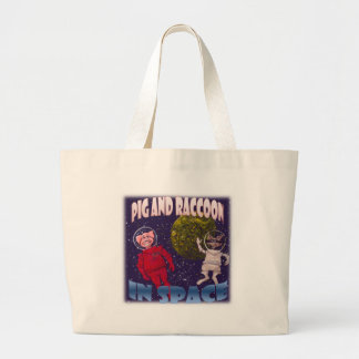 Pig and Raccoon in Space Large Tote Bag