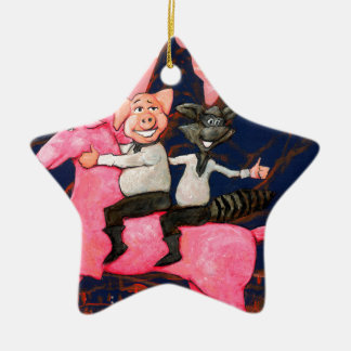 Pig and Raccoon on a Pink Un icorn Ceramic Ornament