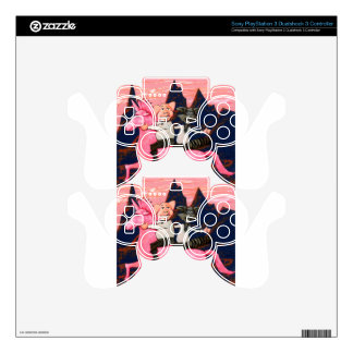 Pig and Raccoon on a Pink Un icorn PS3 Controller Decal