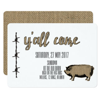 Pig and Ribs Barbed Wire and Burlap Card