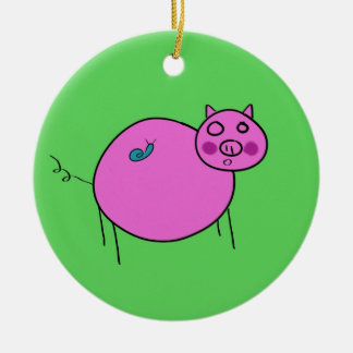 Pig and Snail: Unlikely Friends Ceramic Ornament