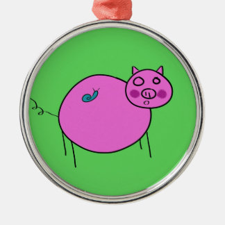 Pig and Snail: Unlikely Friends Metal Ornament