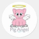 Pig Angel Classic Round Sticker