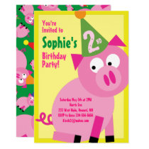 Pig Animal Kid's Birthday Party Invitations