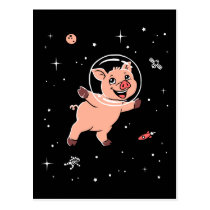 Pig Animals In Space Postcard