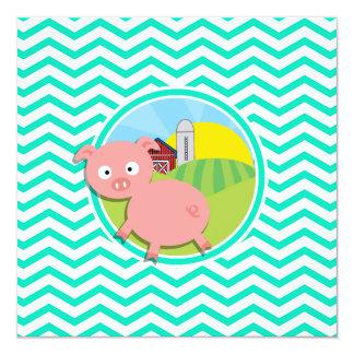 Pig; Aqua Green Chevron Invitation