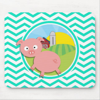 Pig; Aqua Green Chevron Mouse Pad