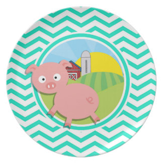 Pig; Aqua Green Chevron Dinner Plates