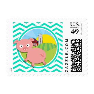 Pig; Aqua Green Chevron Stamps
