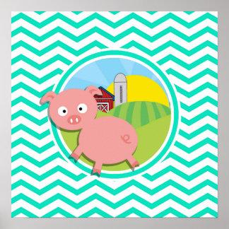 Pig; Aqua Green Chevron Posters