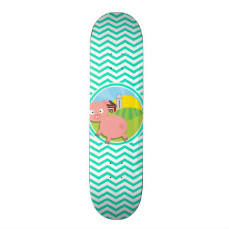 Pig; Aqua Green Chevron Skate Board Deck