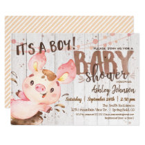 Pig Baby Shower invitation, Boy, Farm Invitation