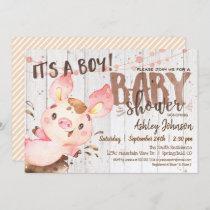 Pig Baby Shower invitation, Boy, Farm Invitation