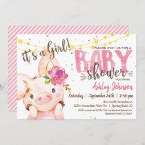 Pig Baby Shower invitation, Girl Farm Invitation