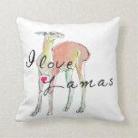 pig back:llama throw pillows
