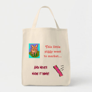 pig/bacon humor shopping tote bags