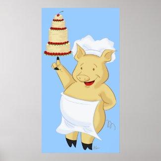 Pig Baker Holding Cake Poster Print print