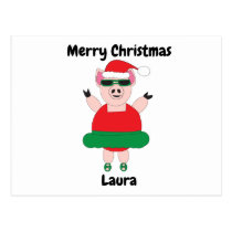 Pig Ballerina Christmas Funny Cute Personalize Postcard