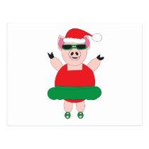 Pig Ballerina Christmas Funny Cute Postcard