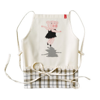 Pig Ballerina Zazzle HEART Apron