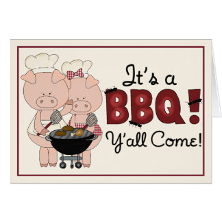 Pig Barbecue Invitation Greeting Card