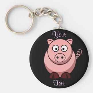 Pig Basic Round Button Keychain