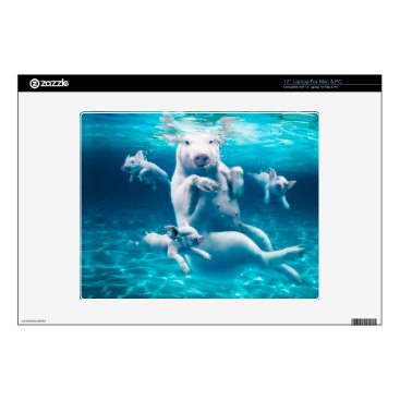 """Beach Themed Pig beach - swimming pigs - funny pig 12"""" laptop skins"""