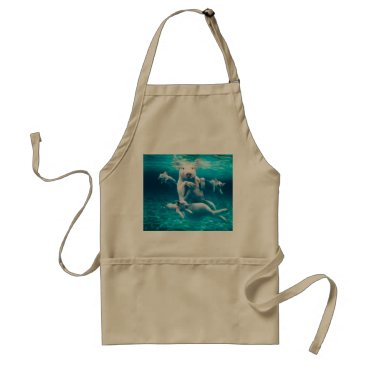 Beach Themed Pig beach - swimming pigs - funny pig adult apron