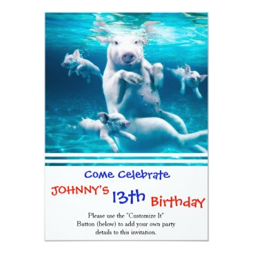Beach Themed Pig beach - swimming pigs - funny pig card