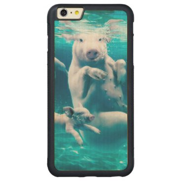 Beach Themed Pig beach - swimming pigs - funny pig carved maple iPhone 6 plus bumper case