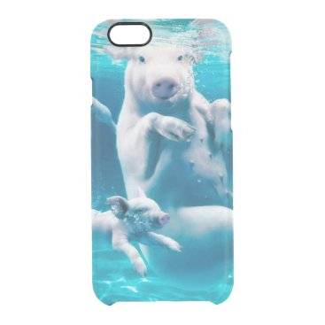 Beach Themed Pig beach - swimming pigs - funny pig clear iPhone 6/6S case