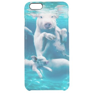Beach Themed Pig beach - swimming pigs - funny pig clear iPhone 6 plus case