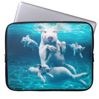 Pig beach - swimming pigs - funny pig computer sleeve