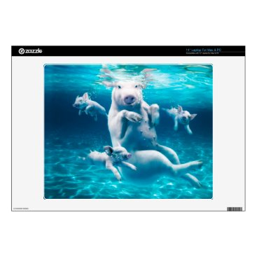 """Beach Themed Pig beach - swimming pigs - funny pig decal for 14"""" laptop"""