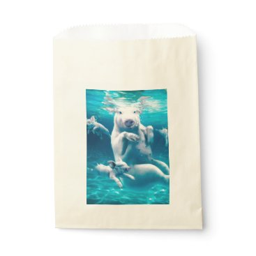 Beach Themed Pig beach - swimming pigs - funny pig favor bag