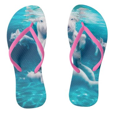 Beach Themed Pig beach - swimming pigs - funny pig flip flops