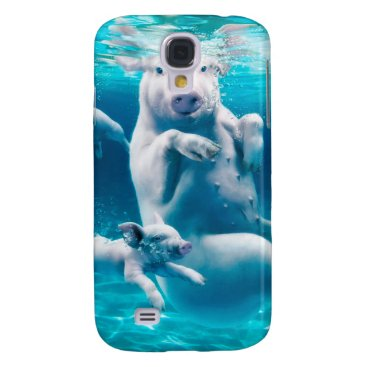 Beach Themed Pig beach - swimming pigs - funny pig galaxy s4 cover