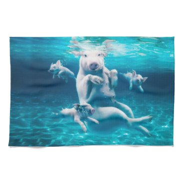 Beach Themed Pig beach - swimming pigs - funny pig hand towel