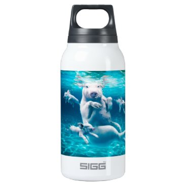 Beach Themed Pig beach - swimming pigs - funny pig insulated water bottle
