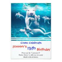 Pig beach - swimming pigs - funny pig invitation
