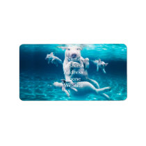 Pig beach - swimming pigs - funny pig label