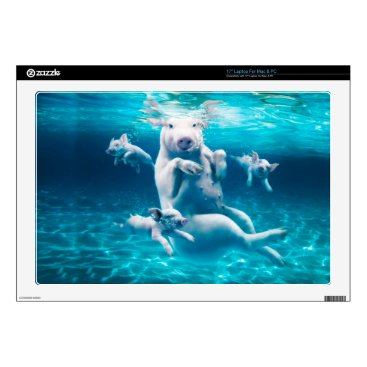 Beach Themed Pig beach - swimming pigs - funny pig laptop decal
