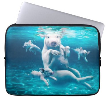 Beach Themed Pig beach - swimming pigs - funny pig laptop sleeve