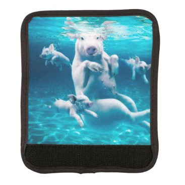 Beach Themed Pig beach - swimming pigs - funny pig luggage handle wrap