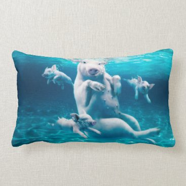 Beach Themed Pig beach - swimming pigs - funny pig lumbar pillow