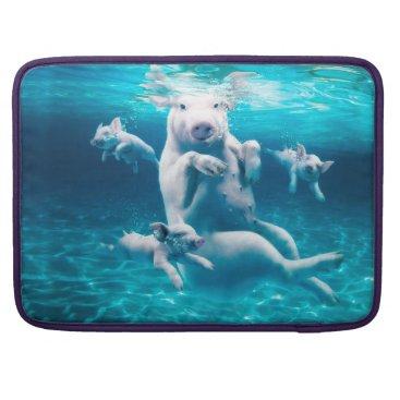 Beach Themed Pig beach - swimming pigs - funny pig MacBook pro sleeve