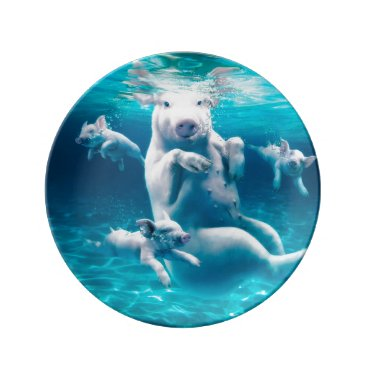 Pig beach - swimming pigs - funny pig porcelain plate