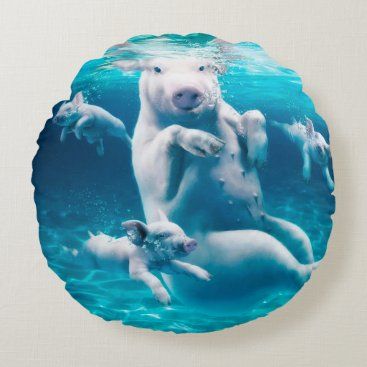 Beach Themed Pig beach - swimming pigs - funny pig round pillow